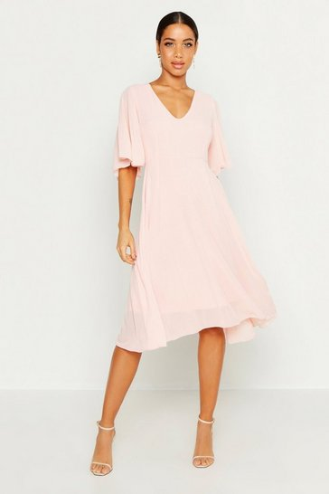 Womens Blush Cape Detail Chiffon Midi Dress