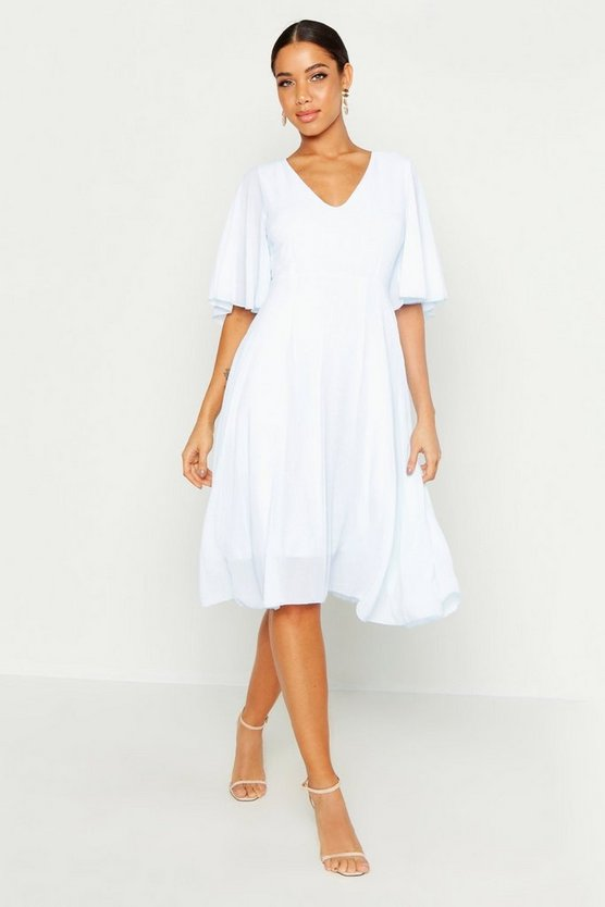 Womens Sky Cape Detail Chiffon Midi Dress