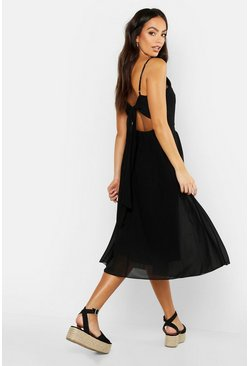 Womens Black Tie Back Chiffon Skater Dress