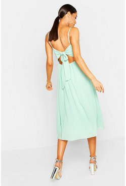 Womens Mint Tie Back Chiffon Skater Dress