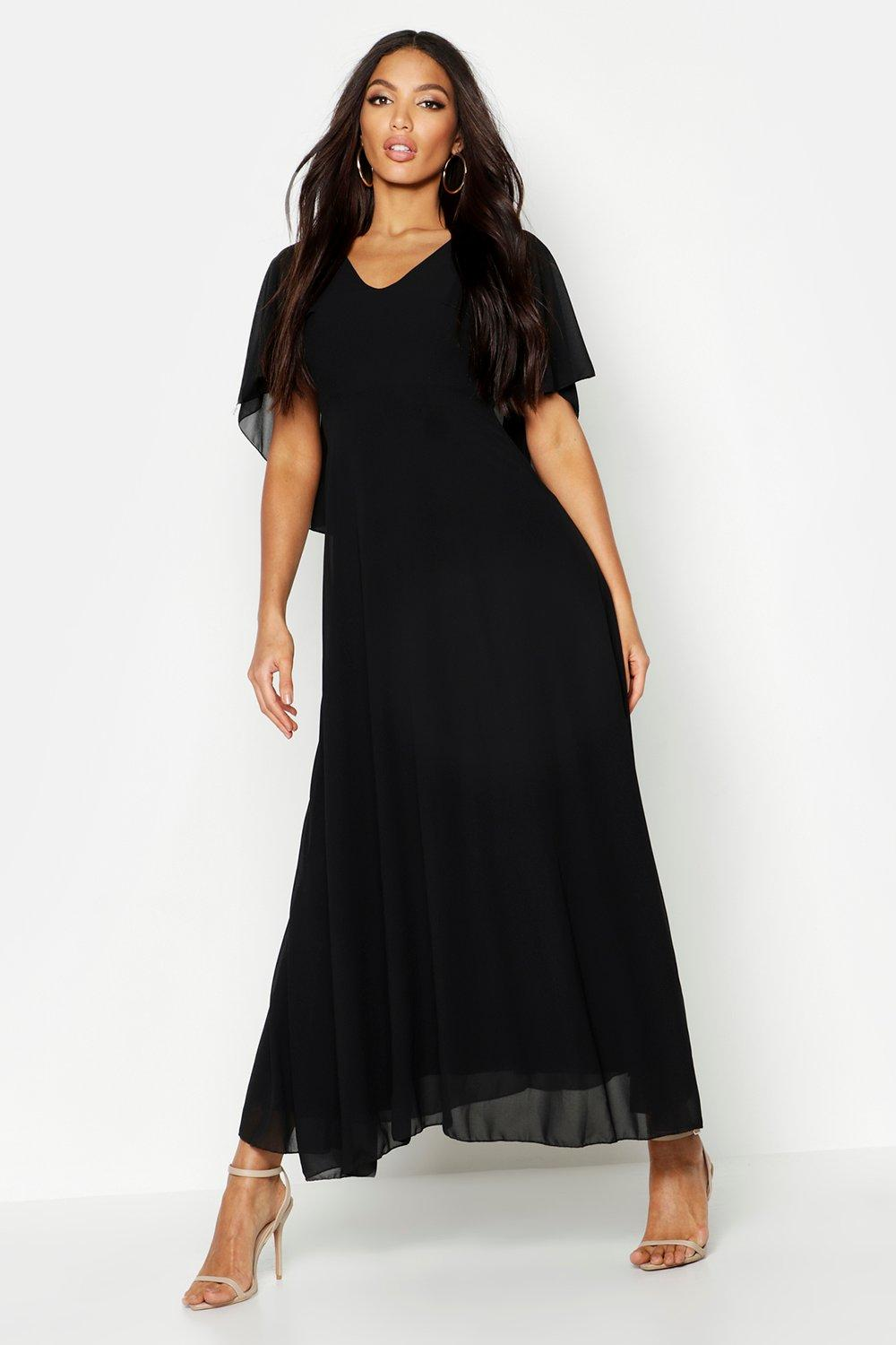 1920s Evening Dresses & Formal Gowns Cape Detail Chiffon Maxi Dress $60.00 AT vintagedancer.com