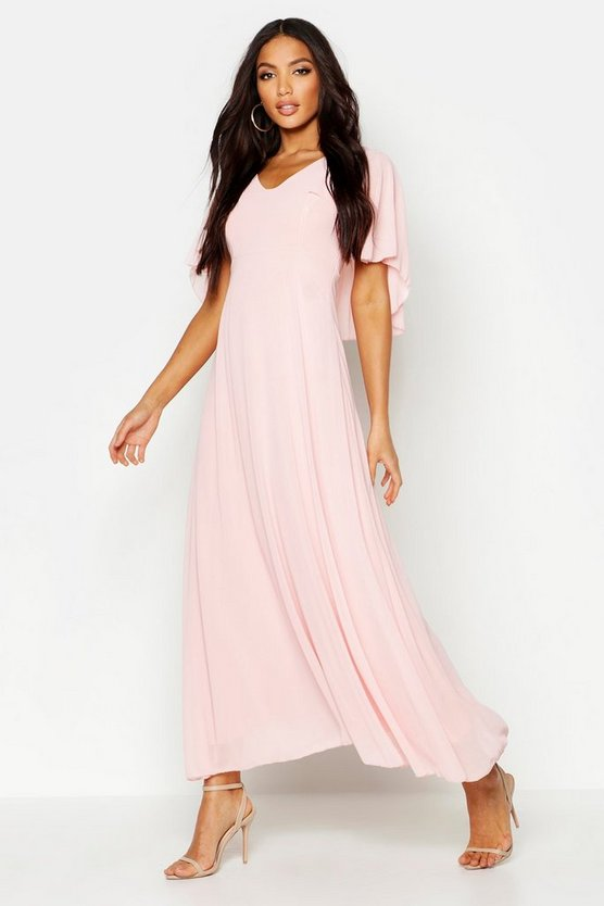 Blush Cape Detail Chiffon Maxi Dress