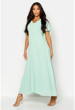 Mint Cape Detail Chiffon Maxi Dress
