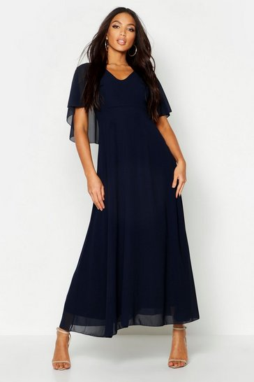 Womens Navy Cape Detail Chiffon Maxi Dress