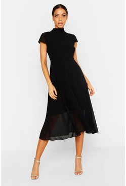 Womens Black High Neck Flutter Sleeve Midi Skater Dress