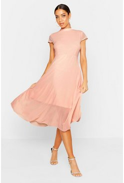 Womens Blush High Neck Flutter Sleeve Midi Skater Dress