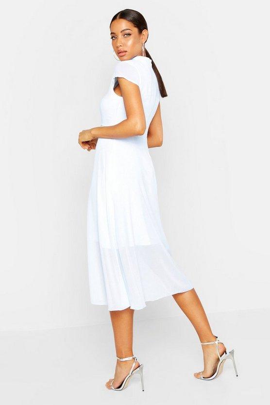 High Neck Flutter Sleeve Midi Skater Dress