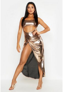 Womens Metallic gold Metallic Cut Front Twist Maxi Dress