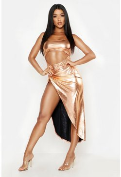 Womens Metallic gold Metallic Twist Maxi Skirt