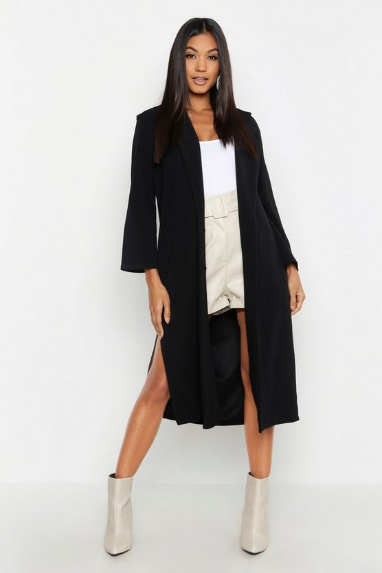 Black Side Slit Longline Lightweight Duster