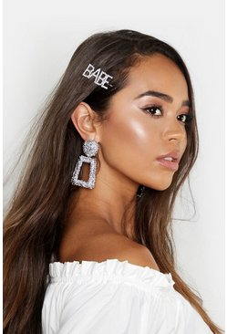 Womens Silver BABE Diamante Hair Slide