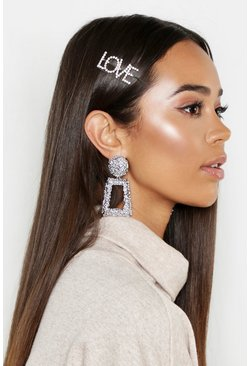 Dam Silver LOVE Diamante Hair Slide
