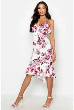 Womens Blush Floral Wrap Ruffle Midi Dress