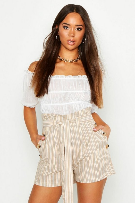 Sand Linen Look Tie Side Shorts
