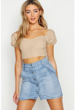 Womens Light blue Button Front Seam Denim Mini Skirt