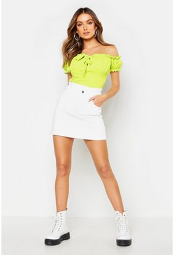 Womens White Ruched Waist Denim Mini Skirt