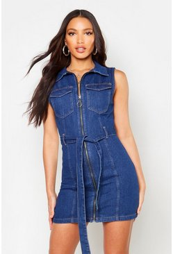 Womens Indigo Tie Waist Zip Front Denim Dress