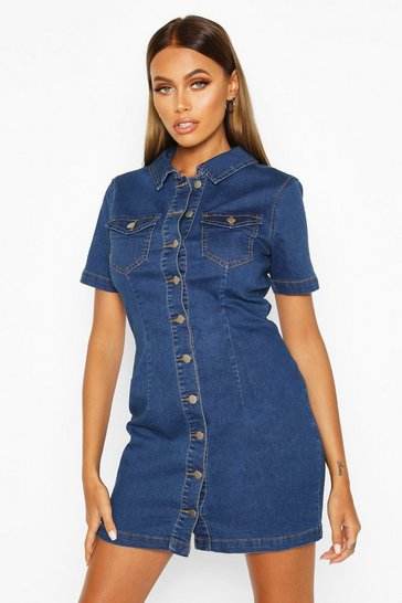 Womens Indigo Button Front Denim Shirt Dress