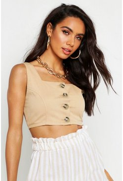 Womens Camel Button Front Denim Crop Top