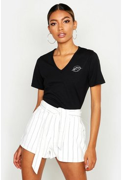 Womens White Stripe Belted Denim Mom Short