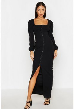 Womens Black Peasant Hook & Eye Maxi Dress