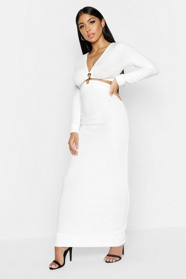 Womens Ivory Rib Plunge O Ring Detail Maxi Dress