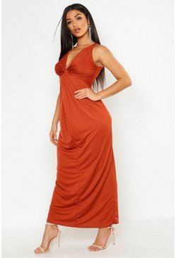 Womens Orange Knot Front Plunge Maxi Dress