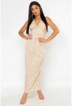 Womens Stone Knot Front Plunge Maxi Dress