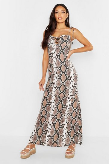 Womens Brown Snake Tie Lace Front Maxi Dress
