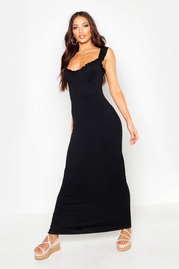 Womens Black Jersey Cupped Ruffle Maxi Dress
