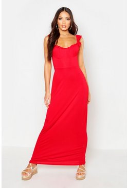 Red Jersey Cupped Ruffle Maxi Dress