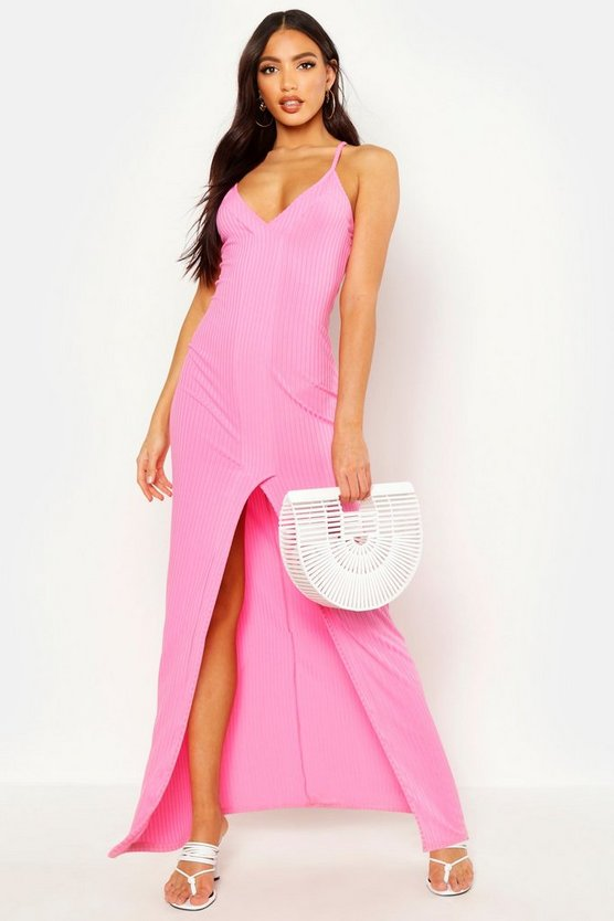 Womens Blush Rib Plunge Contrast Panel Split Front Maxi Dress