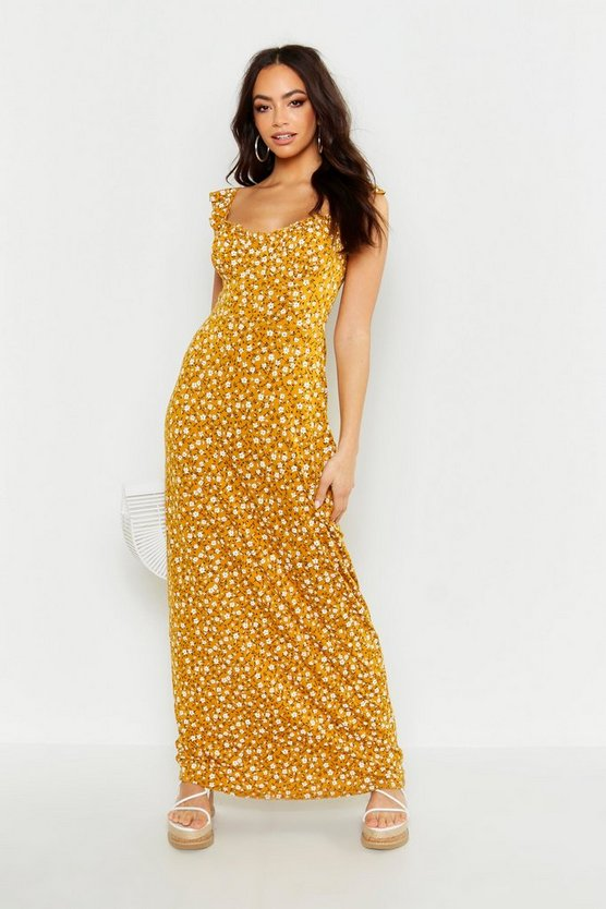 Womens Mustard Ditsy Floral Cupped Maxi Dress
