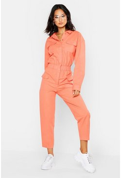 Utility-Overall aus Denim, Orange, Damen