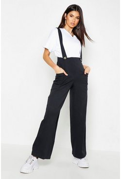 Black Strappy Wide Leg Denim Dungaree