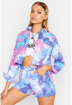 Womens Pink Tie Dye Cropped Jacket