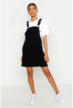 Womens O Ring Zip Washed Black Denim Pinafore Dress