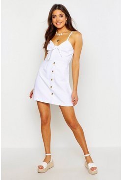 Womens Off white Tie Front Button Denim Dress