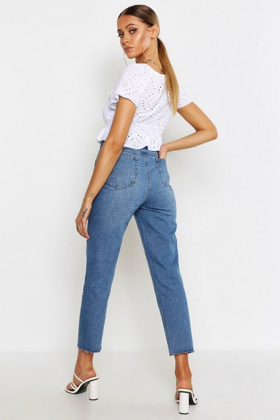 Self Fabric Buckle High Rise Straight Jean