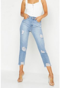Womens Mid blue High Rise Distressed Straight Leg Jean