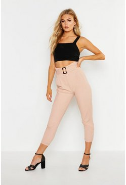 Pale pink High Rise Tortoise Shell Belt Denim Trouser