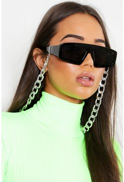 Womens Silver Chunky Linked Sunglasses Chain