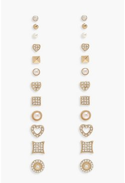 Womens Multi Heart & Stud 12 Earring Pack