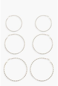 Womens Gold Diamond Cut Triple Hoop Pack