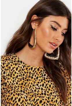 Womens Gold Etched Boho Rectangle Hoops
