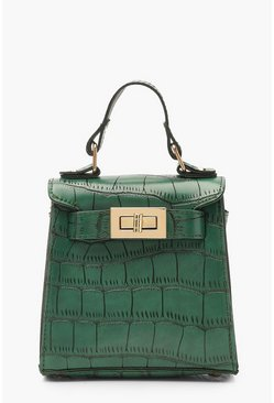 Womens Green Faux Croc Mini Lock Bag