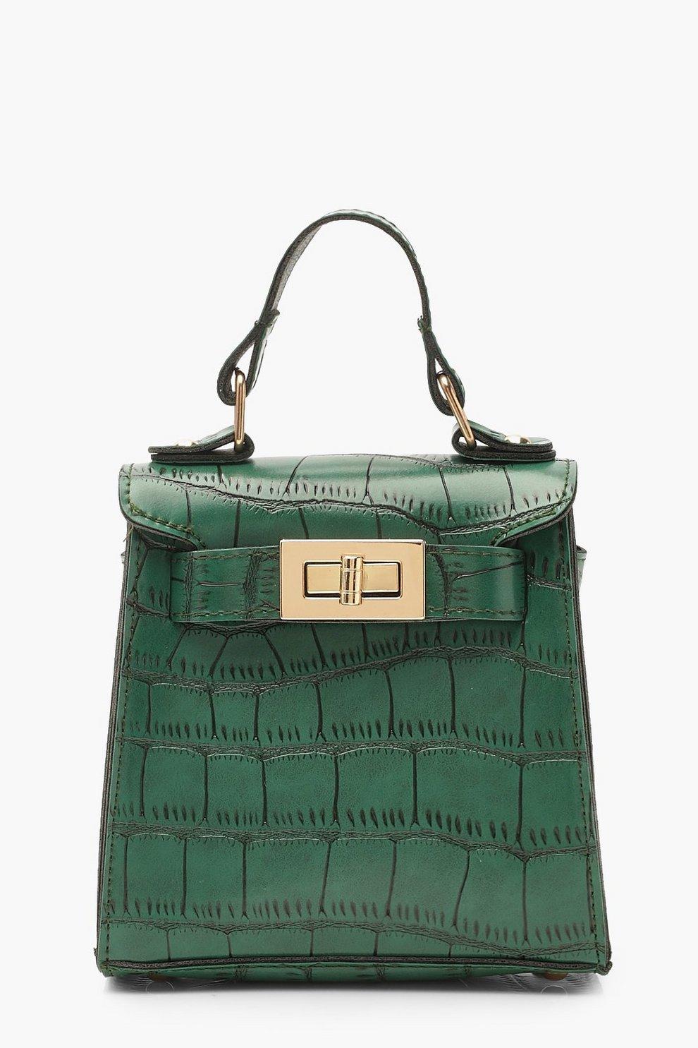 b6167cdf6e Mini sac à fermoir imitation croco, Vert, Femme
