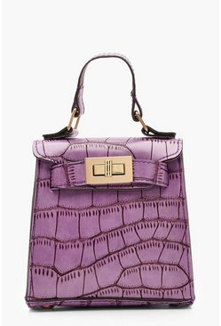 Womens Purple Faux Croc Mini Lock Bag