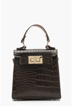 Womens Brown Faux Croc Mini Lock Bag