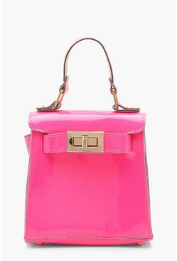 Womens Neon-pink Neon Mini Lock Bag